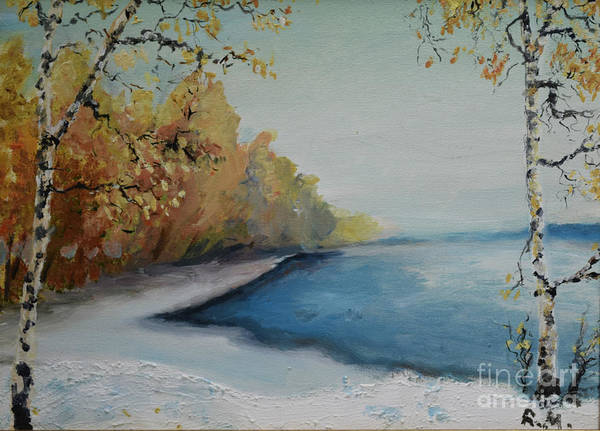 Winter Starts At Kymi River Art Print