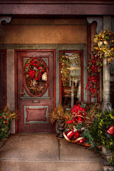 Photograph - Winter - Store - Metuchen Nj - Dressed For The Holidays by Mike Savad