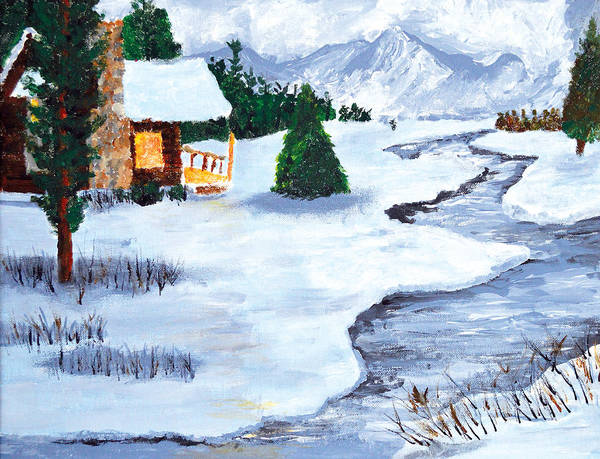 Stream Mixed Media - Winter Stream 2014 by Anja Eriksen