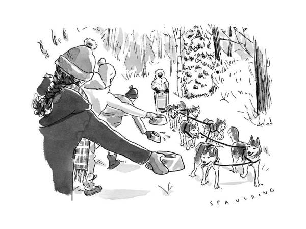 Wall Art - Drawing - Winter Suited Volunteers Hold Out Dog Dishes by Trevor Spaulding