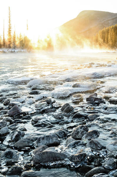 Ice Floe Photograph - Winter Sunrise Over Misty Bow River In by Rebecca Schortinghuis