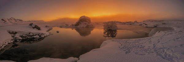 Lava Lakes Photograph - Winter Sunset And Fog Over Lake Myvatn by Panoramic Images