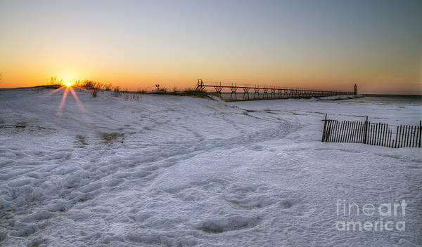 Manistee Photograph - Winter Sunset In Manistee by Twenty Two North Photography