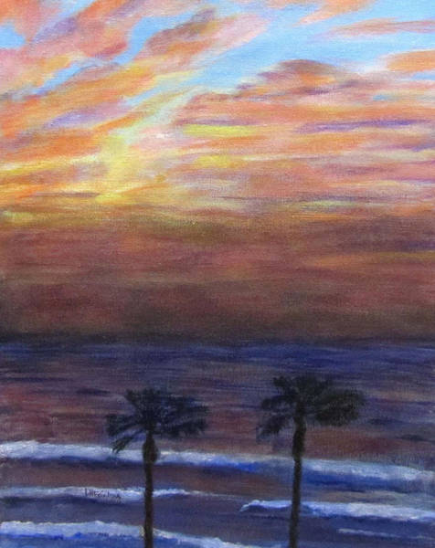 Painting - Winter Sunset In Netanya by Linda Feinberg