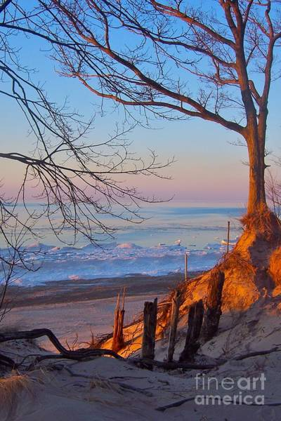 Photograph - Winter Sunset On Frozen Lake Michigan  by Pamela Clements