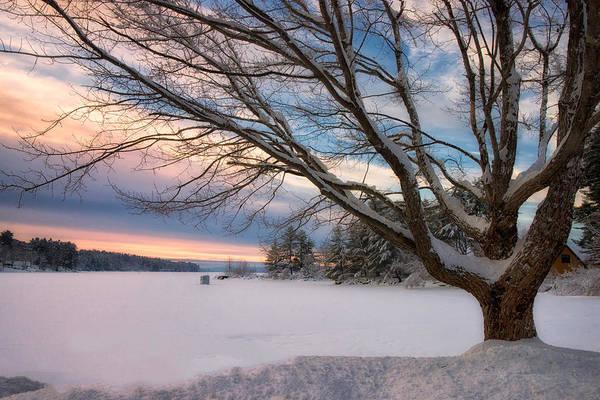 Winter Sunset On Long Lake Art Print