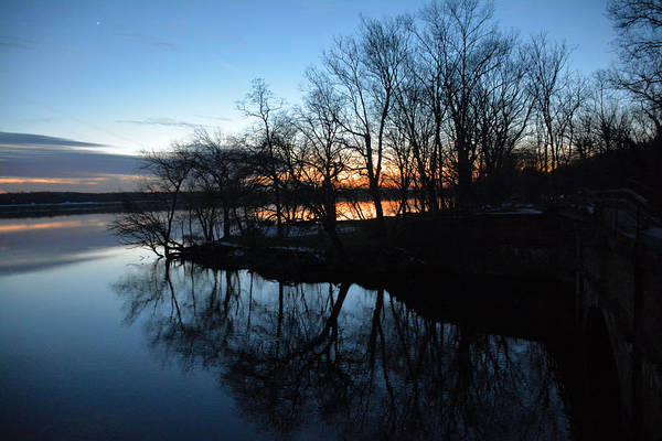 Winter Sunset On Potomac River Art Print by Bill Helman