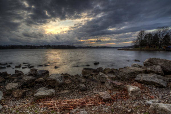 Photograph - Winter Sunset On The Lake by David Dufresne