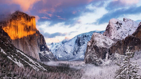 Untamed Photograph - Winter Sunset Over Yosemite Valley by Russ Bishop