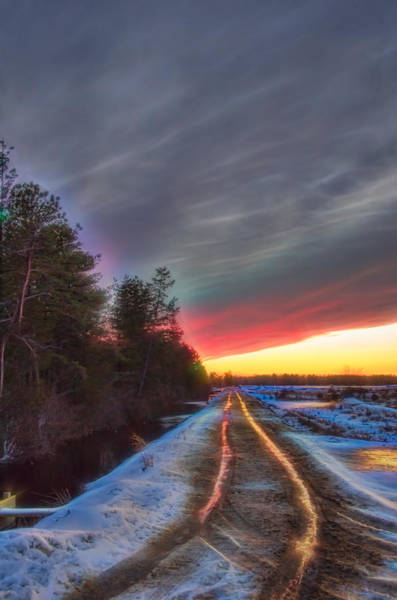 Photograph - Winter Sunset Road Glow by Beth Sawickie