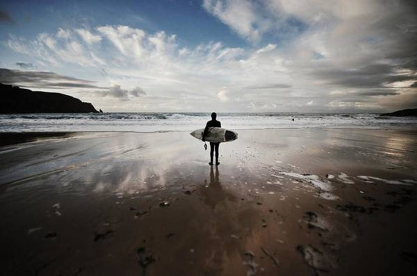 Water Sport Photograph - Winter Surfing At Plemont by Richard Boak