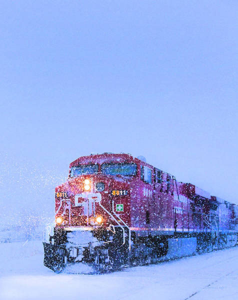 Canadian National Railway Photograph - Winter Train 8811 by Theresa Tahara