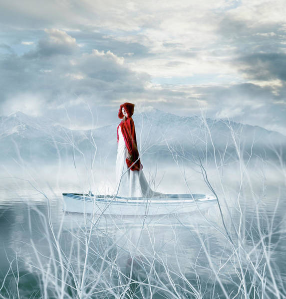 Red Dress Photograph - Winter Traveller by Colin Anderson