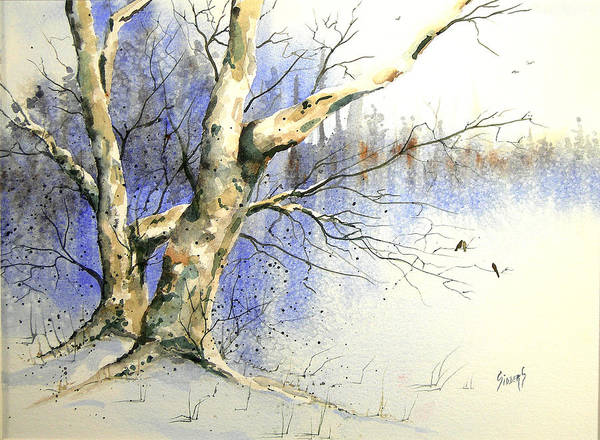 Painting - Winter Tree With Birds by Sam Sidders
