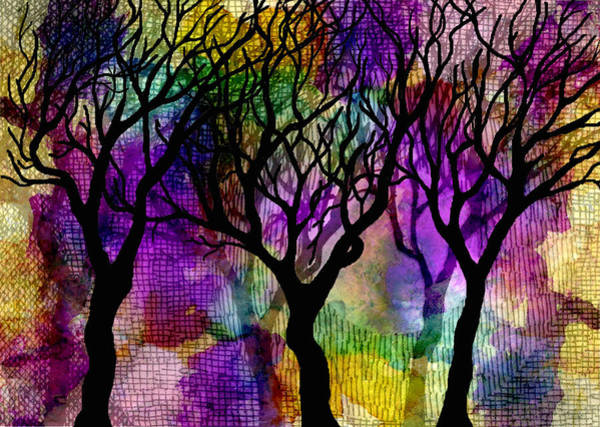 Pen And Ink Mixed Media - Winter Trees On Mica Background by Marta Harvey