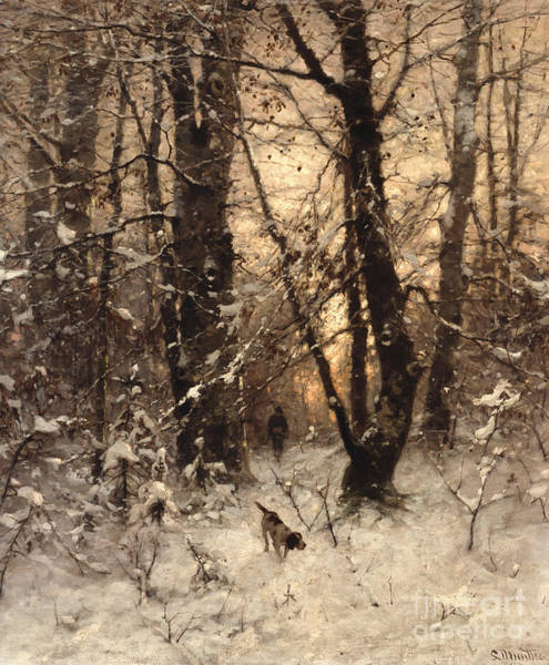 Canine Painting - Winter Twilight by Ludwig Munthe