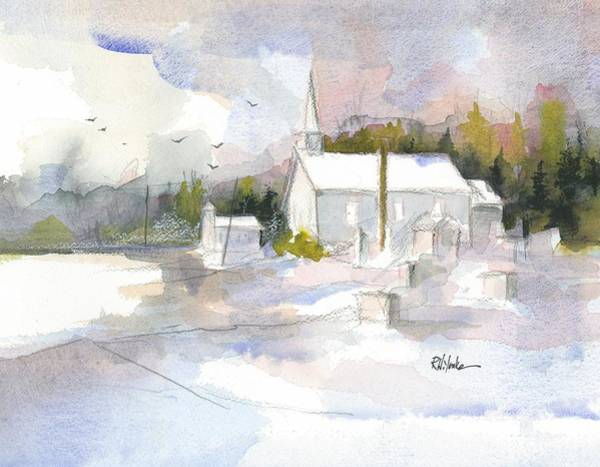Chapels Painting - Winter Twin Churches by Robert Yonke