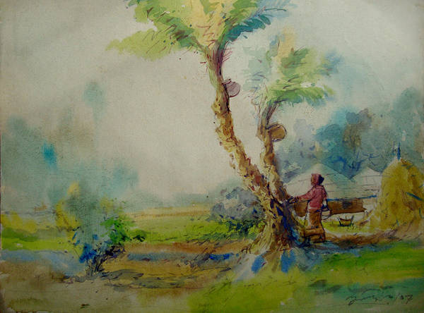 Bangladesh Painting - Winter Village Of Bangladesh by Anisur Rahman