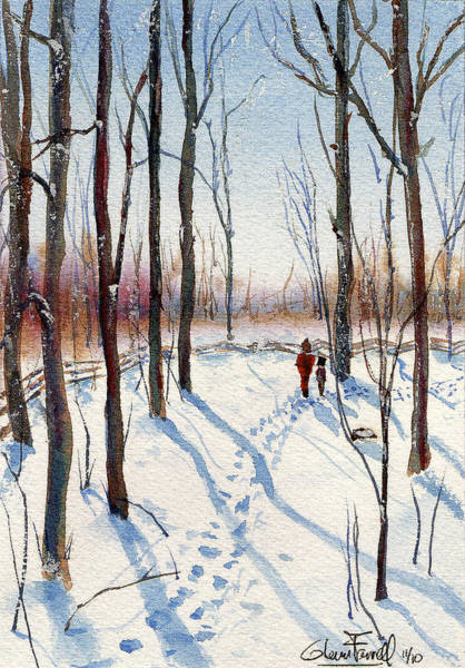 Clear Coat Wall Art - Painting - Winter Walk 2 by Glenn Farrell
