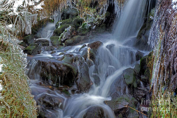 Photograph - Winter Waterfall In Goyt Valley by David Birchall