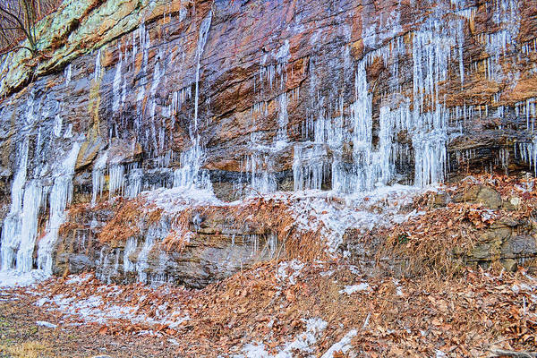 Photograph - Winter Weeping Rocks by Paulette B Wright