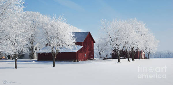 Painting - Winter Wonderland Red Barn Digital Painting by Robyn Saunders