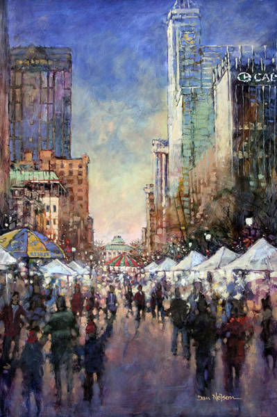 Downtown Raleigh Wall Art - Painting - Winterfest by Dan Nelson