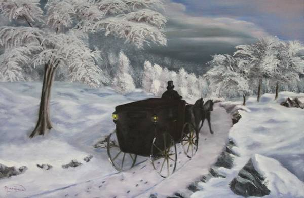 Pulling Painting - Winters Journey by Lou Magoncia