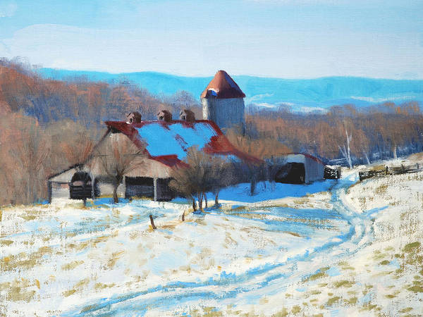 Barn Snow Painting - Winter's Mantle by Armand Cabrera