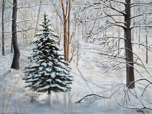 Pine Forest Painting - Winter's Peace by Vicky Path