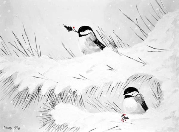 Pine Needles Painting - Chickadees by Chastity Hoff