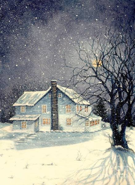 Moon Shadow Painting - Winter's Silent Night by Janine Riley