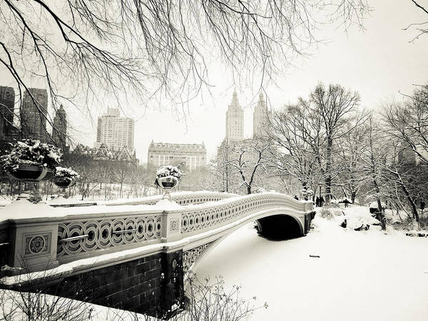 Black And White Photograph - Winter's Touch - Bow Bridge - Central Park - New York City by Vivienne Gucwa