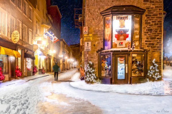 Photograph - Wintery Streets Of Old Quebec At Night by Mark Tisdale