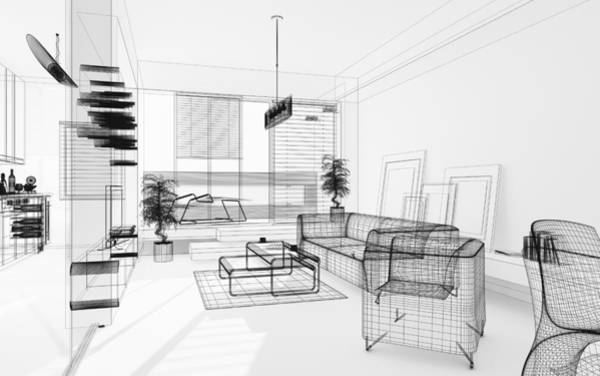 Wireframe 3d Modern Interior. Blueprint. Render Image. Architecture Abstract. Art Print by PetrePlesea