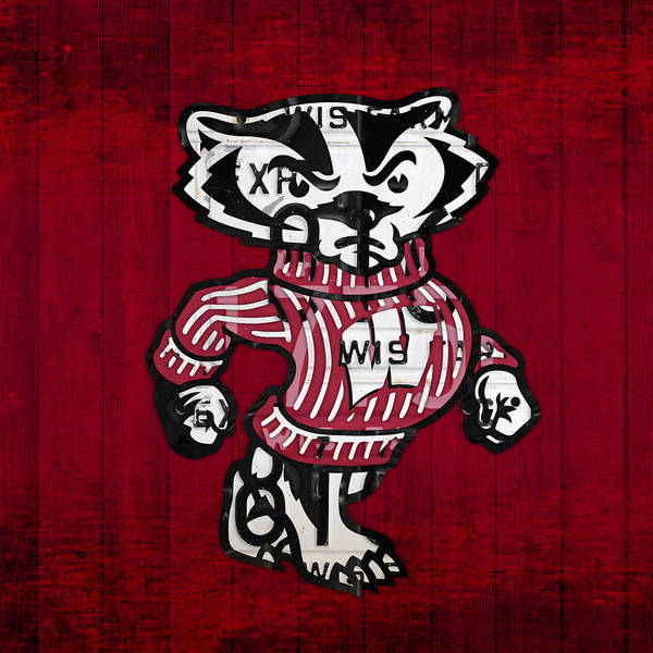 Wall Art - Mixed Media - Wisconsin Badgers College Sports Team Retro Vintage Recycled License Plate Art by Design Turnpike