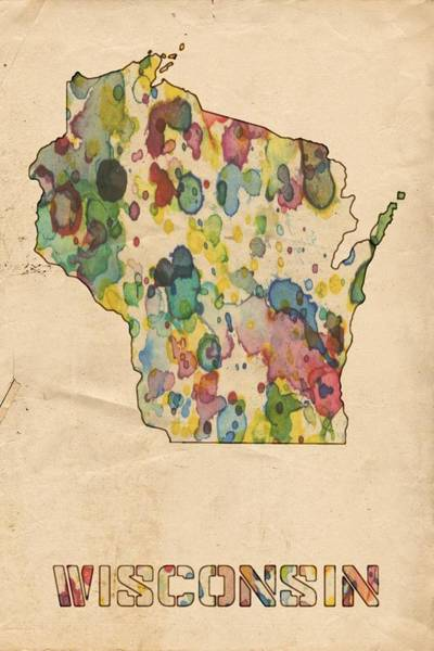 Painting - Wisconsin Map Vintage Watercolor by Florian Rodarte