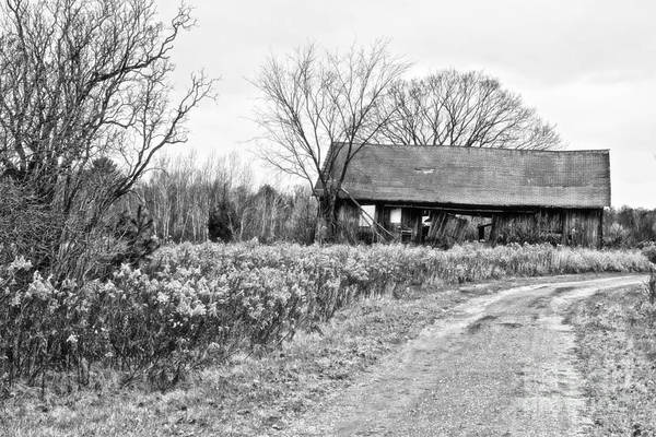 Photograph - Wisconsin Old Barn 2 Black And White by Ms Judi