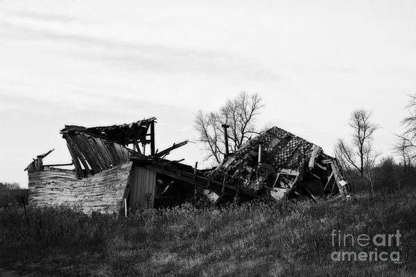 Photograph - Wisconsin Old Barn 6 Black And White by Ms Judi