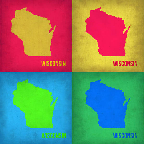 Wisconsin Wall Art - Painting - Wisconsin Pop Art Map 1 by Naxart Studio