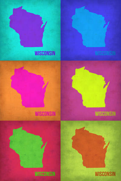 Wisconsin Wall Art - Painting - Wisconsin Pop Art Map 2 by Naxart Studio