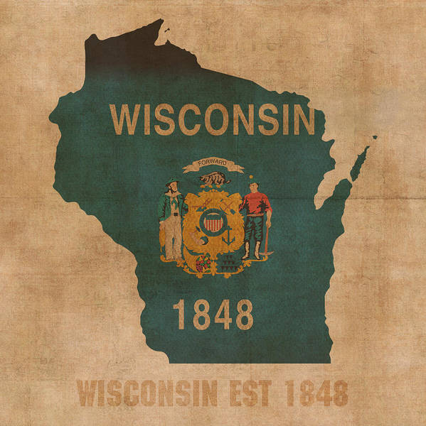 Background Mixed Media - Wisconsin State Flag Map Outline With Founding Date On Worn Parchment Background by Design Turnpike