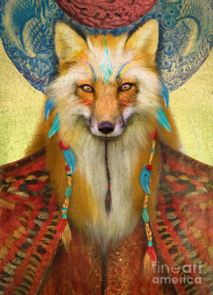 Foxes Digital Art - Wise Fox by MGL Meiklejohn Graphics Licensing