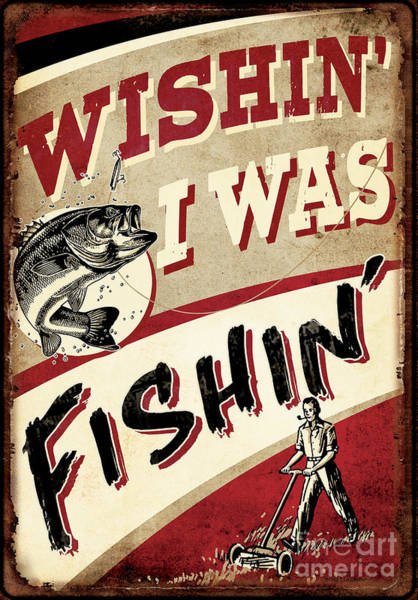 Painting - Wishin I Was Fishin by JQ Licensing
