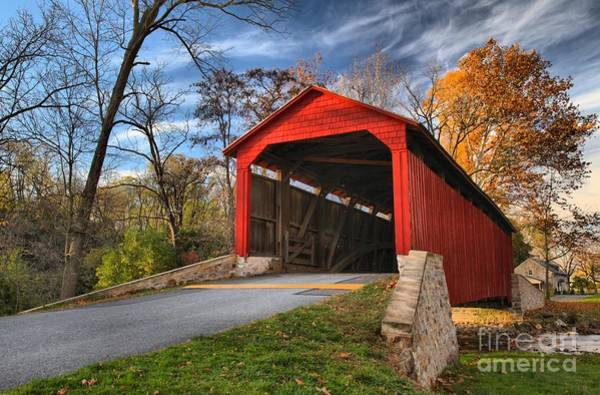 Photograph - Wispy Clouds Over The Poole Forge Covered Bridge by Adam Jewell