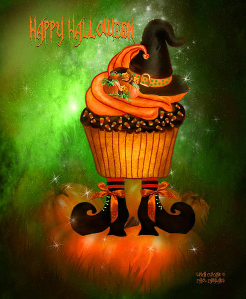 Mixed Media - Witch Cupcake 4  by Carol Cavalaris