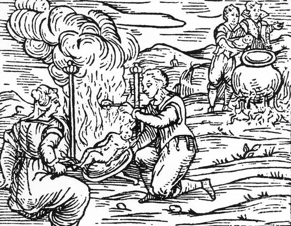 Satan Drawing - Witches Roasting And Boiling Infants by Italian School