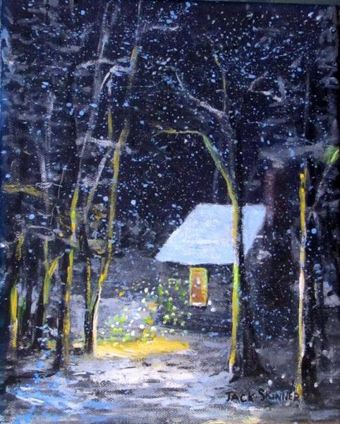 Wall Art - Painting - Wintery  Night At Thoreau's Cove by Jack Skinner