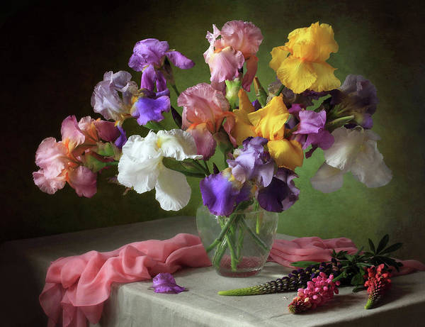 Pastel Photograph - With A Bouquet Of Irises And Flowers Lupine by ??????????? ??????????