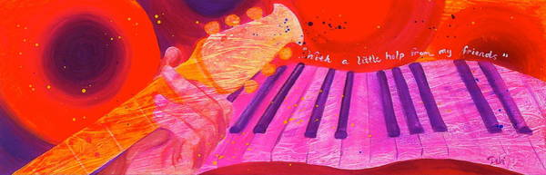 Piano Player Painting - With A Little Help by Debi Starr
